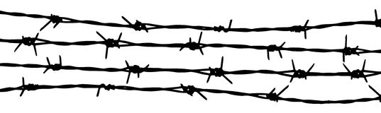 Barbed wire vector fence illustration  Stock Photography