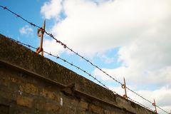 Barbed wire wall Royalty Free Stock Photo