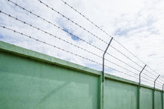 Barbed wire wall against the sky Royalty Free Stock Photos