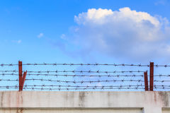 Barbed wire wall on blue sky Stock Images