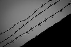 Barbed wire on a wall fence, B&W. Black and white photography of a barbed wire on top of a wall fence Royalty Free Stock Photo