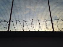 Barbed wire wall with fence Royalty Free Stock Photography