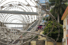 Barbed wire. On the wall of residential area, amoy city, china Royalty Free Stock Image