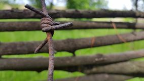 Barbed wire and wooden fence. background. Barbed wire and wooden fence. background Royalty Free Stock Images