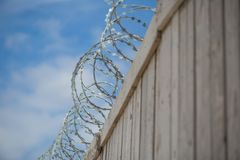 Barbed wire on a fence with blue sky. Barbed wire on a  wooden fence, prison, freedom outside this fence Royalty Free Stock Image