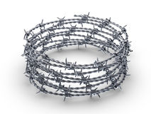 Barbed wire wreath. On a white background. 3D illustration Stock Photo