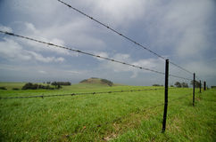 Barbed wired fence at a farm near Kohala Mountain Road Stock Photography