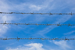 Barbed wires against blue sky. Stock Images