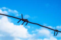 Barbelé contre le ciel bleu Images stock