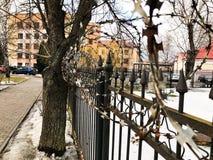 Barbelé protecteur dangereux pointu en métal de fer sur la barrière avec des transitoires et des enjeux contre le ciel photographie stock libre de droits