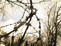 Barbelé protecteur dangereux pointu en métal de fer sur la barrière avec des transitoires et des enjeux contre le ciel photo stock