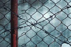 Barbelé rouillé avec le mur grunge Photo libre de droits
