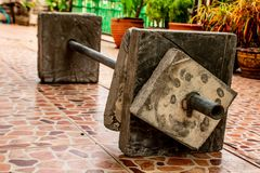 Barbel weights equipment Made of Cement in house. Barbel weights equipment Made of Cement in house , Thailand royalty free stock image