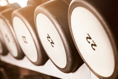Barbel weights in gym. Close up barbel weights in gym with monochrome color tone stock images