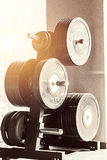 Barbel weights in gym. Close up barbel weights in gym with monochrome color tone stock photos