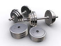 Barbell. Some chrome barbells Stock Photos