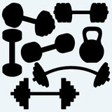 Barbell, barbell and kettlebell Stock Photos