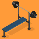Barbell bench press in 3D, vector illustration. Sports equipment item. Barbell bench press, element design for gym. Flat 3D isometric style, vector illustration Stock Photos