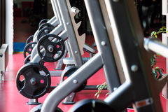 Barbell bench press stands ready to use Royalty Free Stock Images