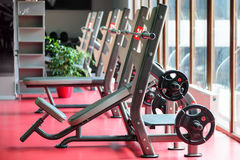 Barbell bench press stands ready to use Stock Photos