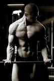 barbell bicepsenkrullen Stock Afbeeldingen