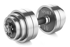 Barbell. Chrome dumbbells with rubber handle and locks  on white background Royalty Free Stock Photography