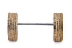 Barbell of coins. Isolated on white Royalty Free Stock Image