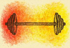 Barbell on a color background illustration. Hand-made watercolor illustration of black barbell on a colorful background yellow, red, orange Stock Photography