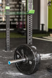 Barbell covered with talc Stock Image