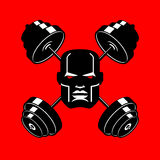 Barbell Crossed emblem for gym. head of bodybuilder sign. Sports. Fitness logo Royalty Free Stock Image