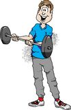 Barbell Curl. Cartoon illustration of a man doing barbell curls Royalty Free Stock Images
