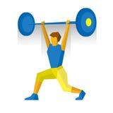 Barbell da elevação do Weightlifter Competição das artes marciais ilustração stock