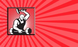 Barbell de With Hammer Striking del herrero Foto de archivo libre de regalías