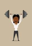 Barbell de levantamento da mulher de negócios acima da cabeça Foto de Stock Royalty Free
