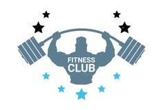 Barbell de prise de Logo With Silhouette Athletic Man de centre de fitness sur l'emblème blanc de fond du gymnase moderne Photographie stock libre de droits