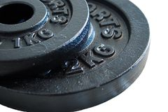 Barbell details. Details of barbel discs, isolated Stock Images