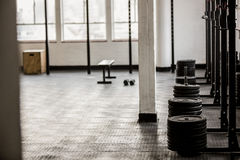 Barbell disc plates arranged Royalty Free Stock Photos