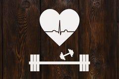 Barbell, domoren en hart met echocardiogram Gezond levensstijlconcept Stock Afbeelding