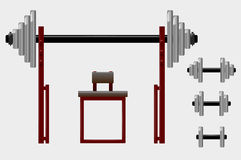 Barbell and dumbbell Royalty Free Stock Image
