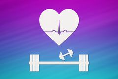 Barbell, dumbbells and heart with echocardiogram. Healthy lifestyle concept Royalty Free Stock Images