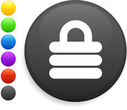 Barbell icon on round internet button Royalty Free Stock Photo
