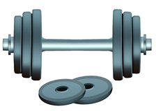 Barbell isolé de sports sur un fond dumbbells Photographie stock