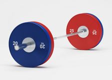 Barbell isolated. Sport inventory on a white background. 3D rendering Royalty Free Stock Photography