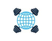 Barbell Logo Icon Design de globe Illustration de Vecteur
