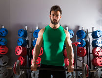 Barbell man workout fitness at weightlifting gym Royalty Free Stock Photos
