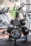 Barbell plates rack in the gym Stock Photo