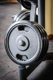 Barbell plates rack Stock Images