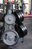 Barbell plates rack Royalty Free Stock Images