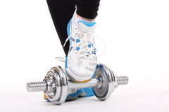Barbell with shoes Royalty Free Stock Image