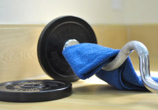 Barbell and towel Royalty Free Stock Image
